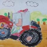 「トラクターのある風景」佳作 菊地 有柚下音更小学校