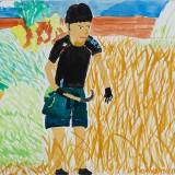 「そばの収穫」佳作 松久 晃治郎昭和小学校6年