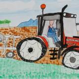 銀賞「畑をたがやすトラクター」東士幌小学校 3年小森満里愛