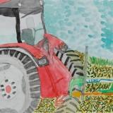 佳作「十勝牧場の大きなトラクターとテッター」駒場小学校 4年重堂怜愛