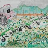 銀賞「十勝牧場の迫力あるトラクター」駒場小学校 4年南岡沙彩